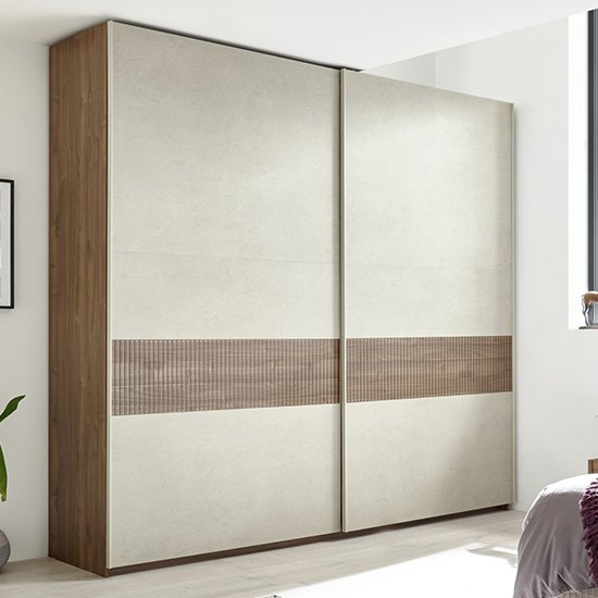 View Civica tall sliding door wardrobe in dark walnut and serigraphed