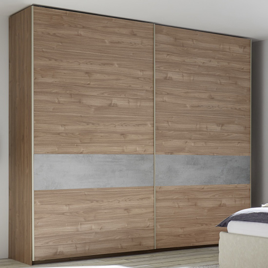 Civica Wide Sliding Door Wardrobe In Stelvio Walnut And Cement