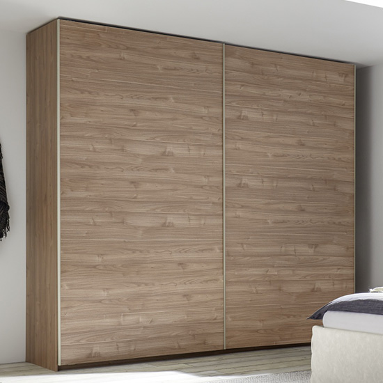Civica Wide Wooden Sliding Door Wardrobe In Stelvio Walnut