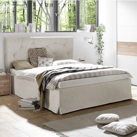 Civico Faux Leather King Size Bed In Clay Effect