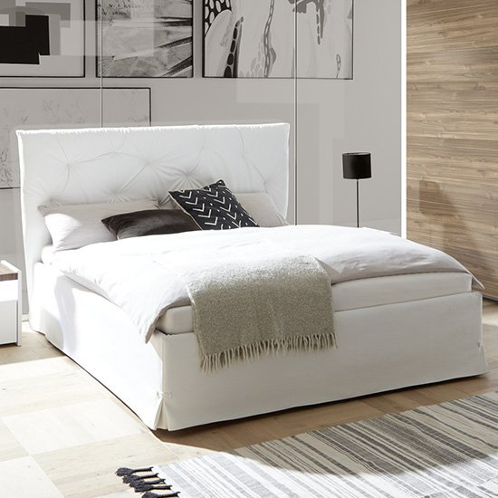 Civico Faux Leather King Size Bed In White