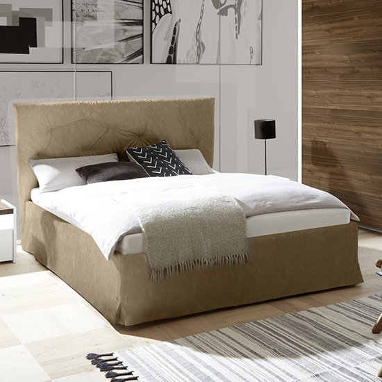 Civico Faux Leather Storage Double Bed In Tobacco Effect