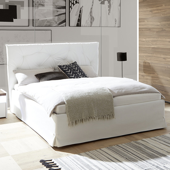 Civico Faux Leather Storage Double Bed In White