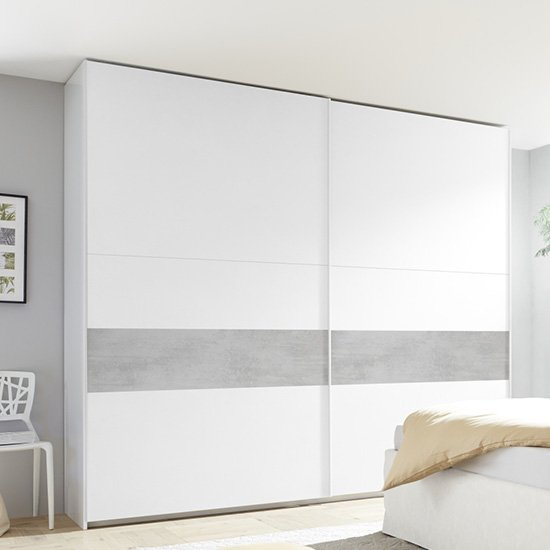 Civico Wide Slide Door Wardrobe In Matt White And Cement Effect