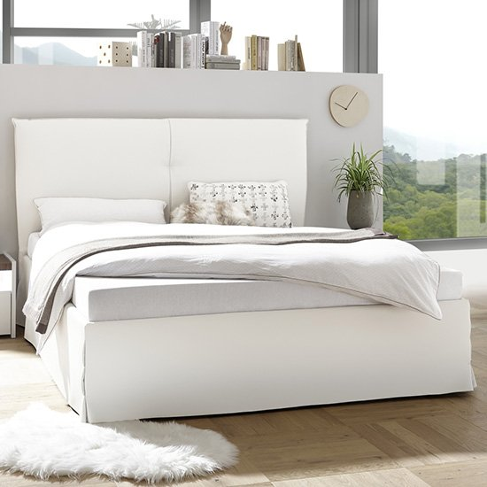 Civics Faux Leather Double Bed In White