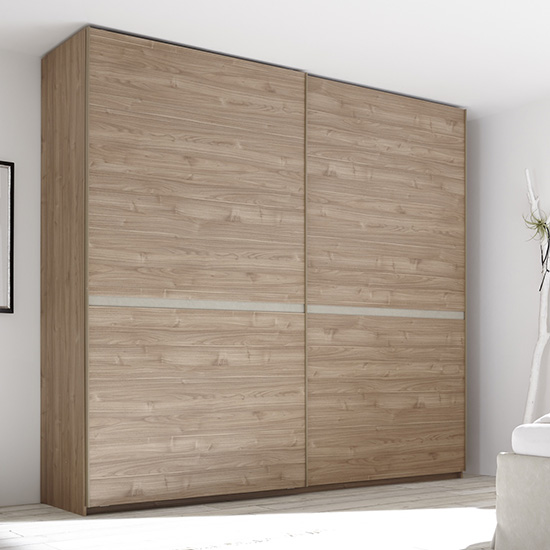 Civics Slide Door Tall Wooden Wardrobe In Stelvio Walnut