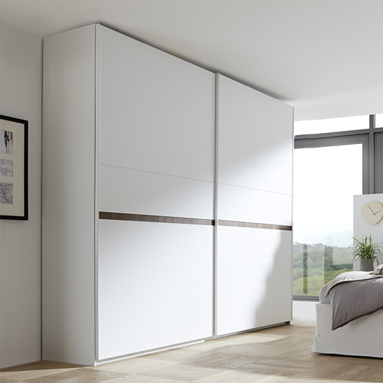 Civics Tall Slide Door Wardrobe In Matt White And Dark Walnut