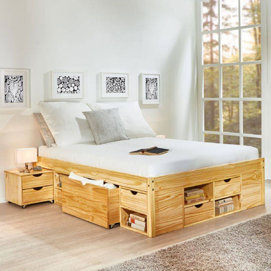 Claas Wooden Functional Double Bed In Natural Oak
