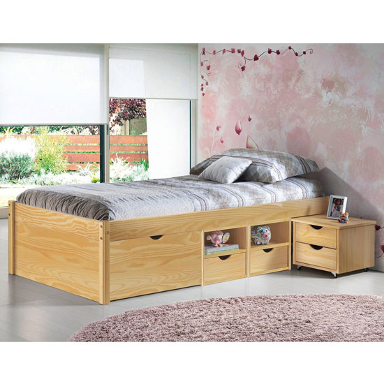 Claas Wooden Functional Single Bed In Natural Oak