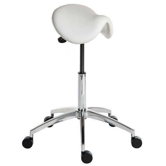 Clack Contemporary Stool In White PU With Castors_1