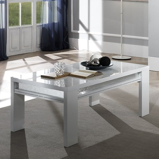 Claire Coffee Table In White High Gloss And Steel Effect