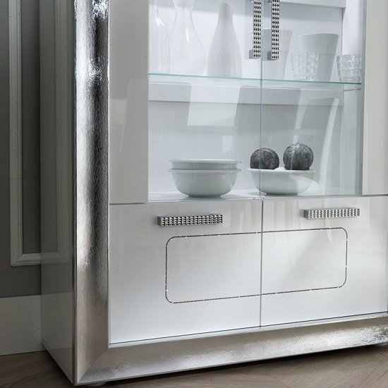Nicoli Display Cabinet In White High Gloss With 3 Doors: Claire Display Cabinet In White High Gloss And Steel Effect