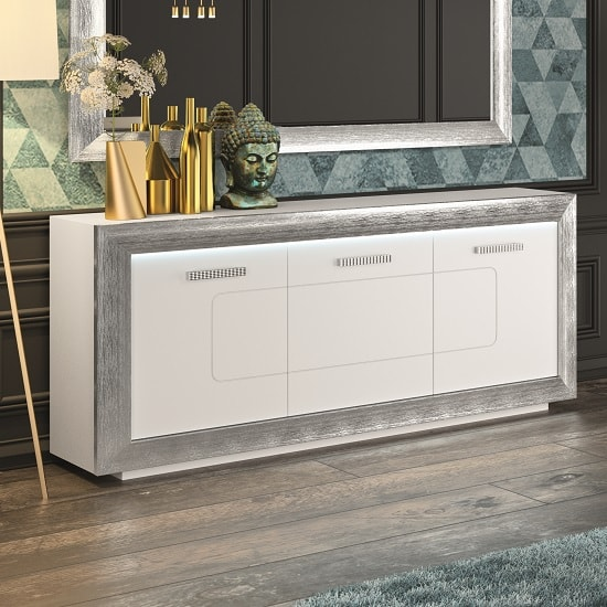 Claire Sideboard In White High Gloss With Steel Effect Border_1