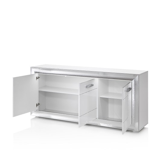 Claire Sideboard In White High Gloss With Steel Effect Border_2