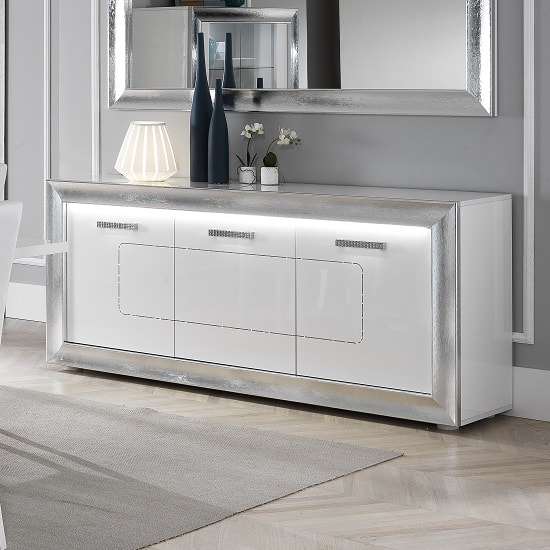 Claire Sideboard In White High Gloss With Steel Effect Border_3