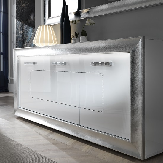 Claire Sideboard In White High Gloss With Steel Effect Border_4
