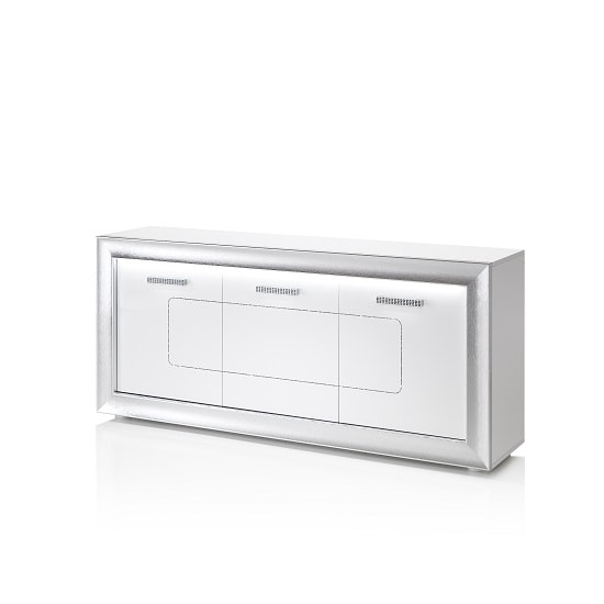 Claire Sideboard In White High Gloss With Steel Effect Border_5