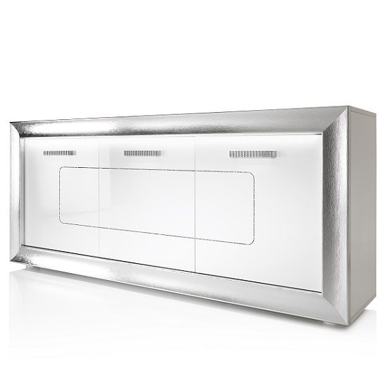 Claire Sideboard In White High Gloss With Steel Effect Border_6