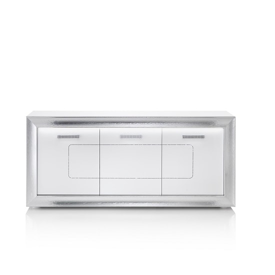 Claire Sideboard In White High Gloss With Steel Effect Border_7