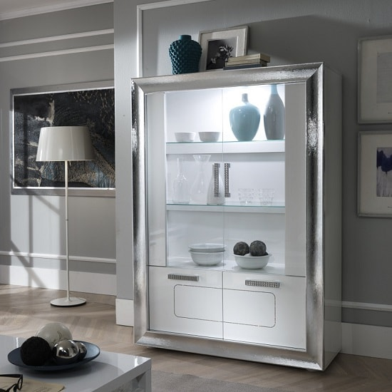 Claire Display Cabinet In White High Gloss And Steel Effect
