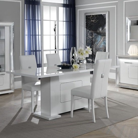 Claire Extendable Dining Table Rectangular In White High Gloss
