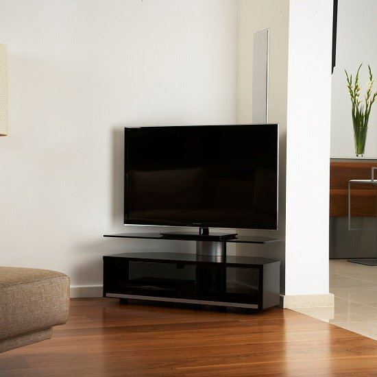 Claire Corner TV Stand In Black Lacquer With Glass Top And Door