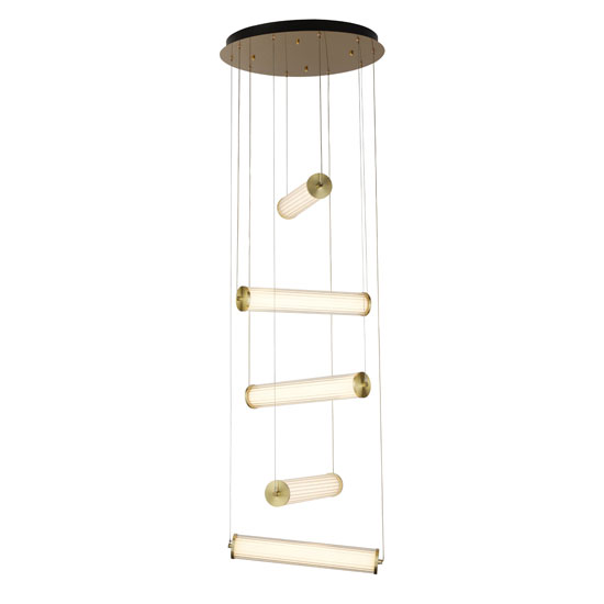 Clamp LED 5 Pendant Light In Gold