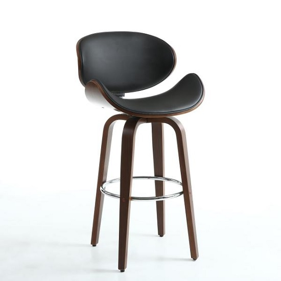 Clapton Bar Stool In Black And Walnut With Chrome Foot Rest