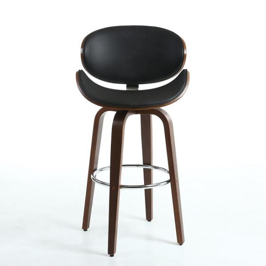 Clapton Bar Stool In Black And Walnut With Chrome Foot Rest_2
