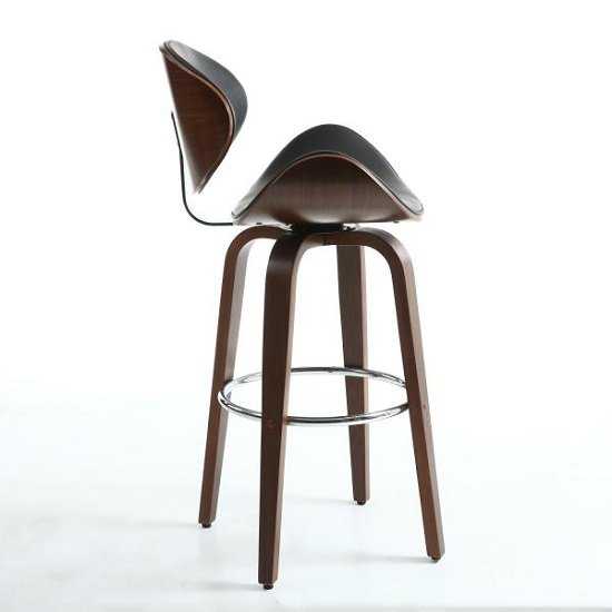 Clapton Bar Stool In Black And Walnut With Chrome Foot Rest_3