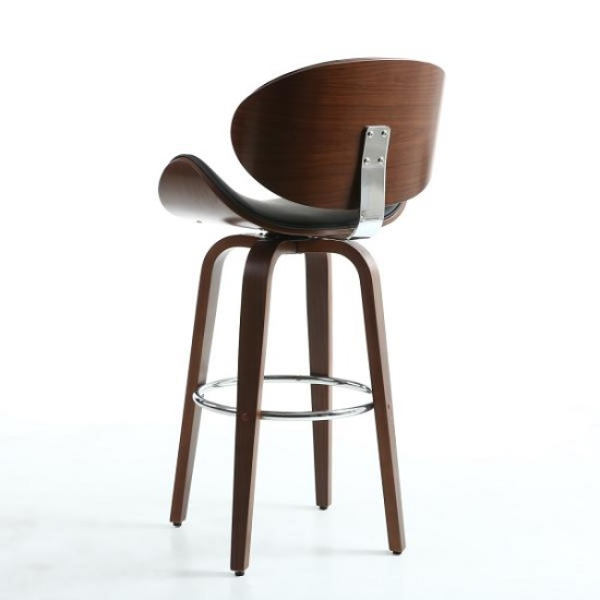 Clapton Bar Stool In Black And Walnut With Chrome Foot Rest_4