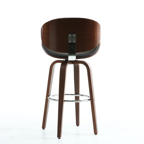 Clapton Bar Stool In Black And Walnut With Chrome Foot Rest_5