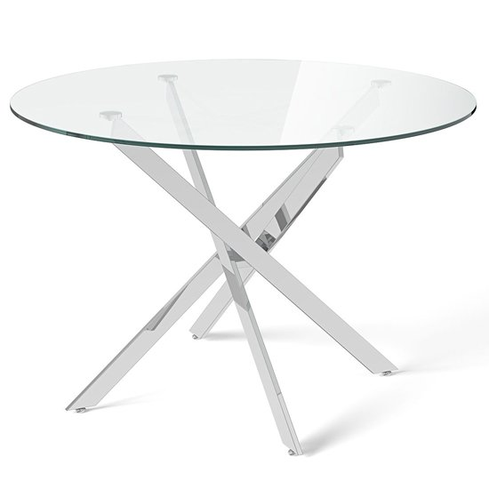Clara Round Glass Dining Table With Chrome Legs