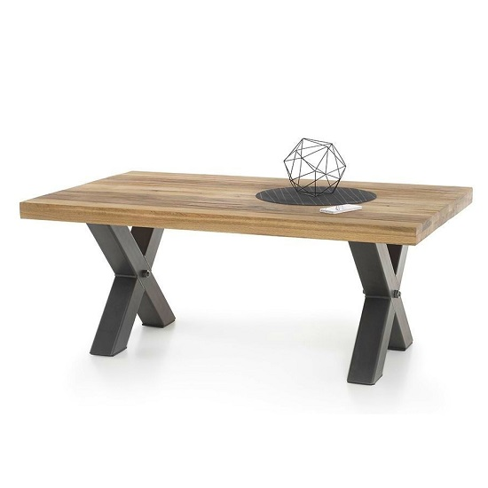 Clare Coffee Table Rectangular In Wild Oak With Metal Frame