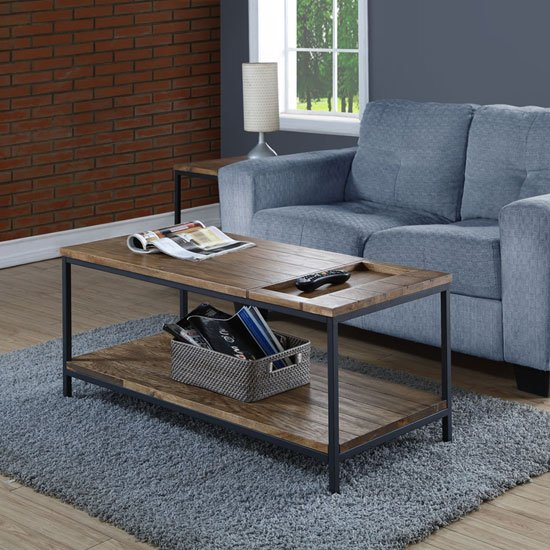 Clare Wooden Coffee Table In Rustic Oak With Undershelf