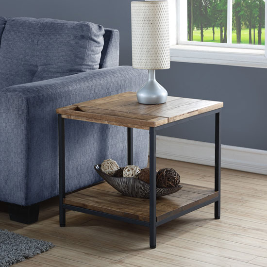 Clare Wooden Lamp Table In Rustic Oak With Undershelf