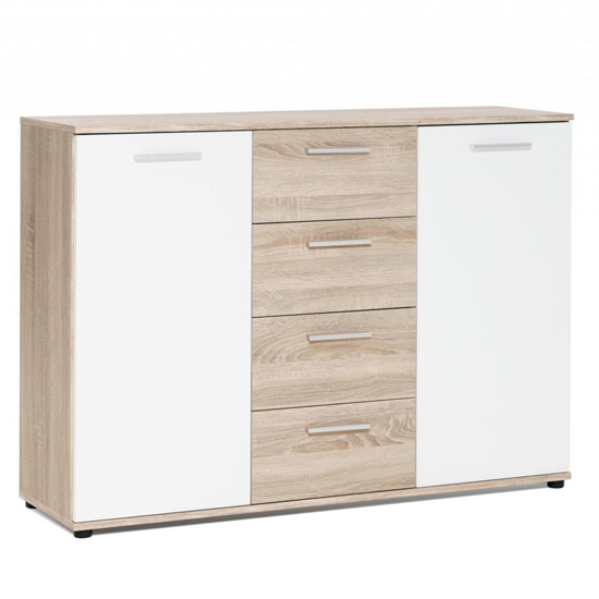 Clarion Sideboard In Wild Oak Effect And White With 2 Doors_2