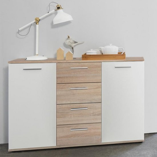 Clarion Sideboard In Wild Oak Effect And White With 2 Doors_1