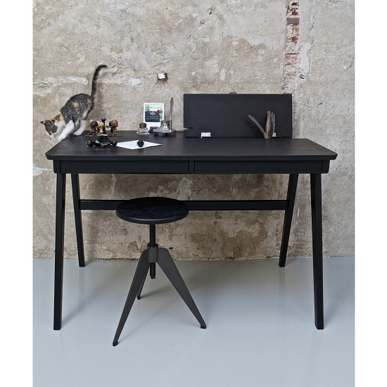 Clarion Wooden Computer Desk In Black With 2 Drawers