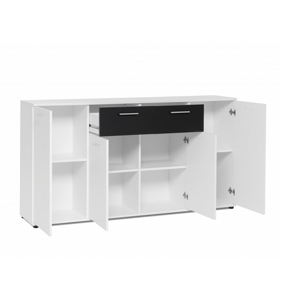 Clarion Wooden Sideboard In White And Black With 4 Doors_2