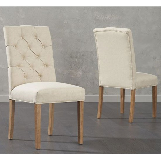 Clarissa Beige Fabric Dining Chairs In A Pair