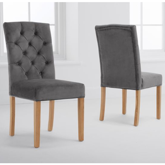 Clarisse Grey Velvet Dining Chairs In A Pair