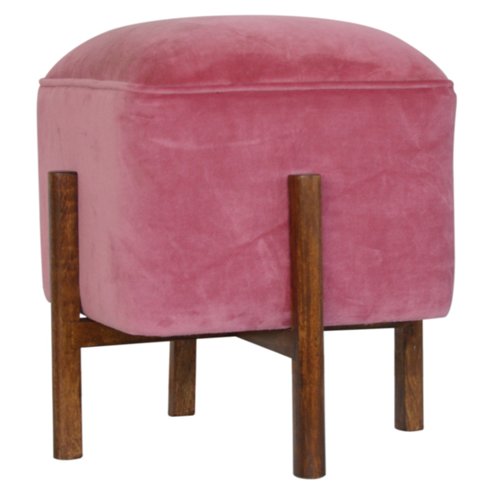 Clarkia Velvet Footstool In Pink With Solid Wood Legs