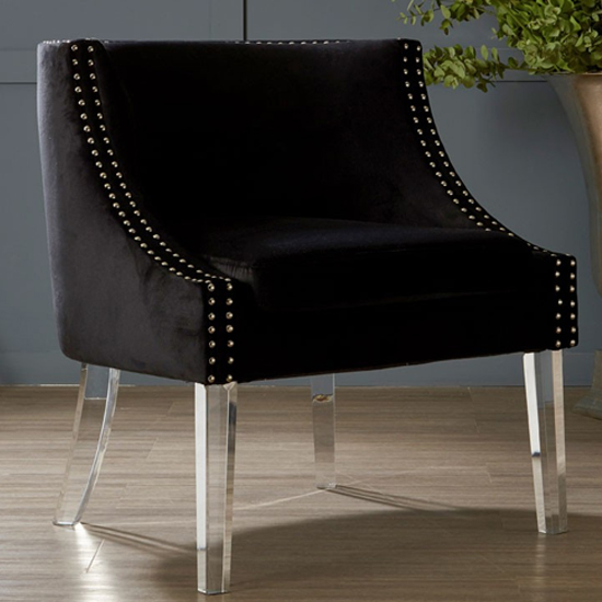 Clarox Curved Fabric Accent Chair In Black