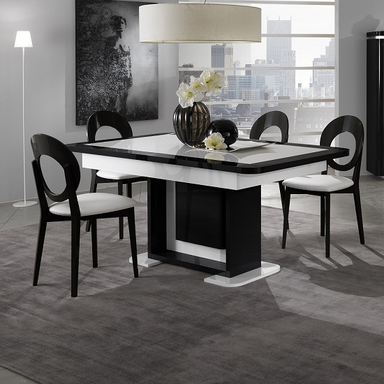 Clarus Extendable Dining Table In White And Black Gloss Lacquer
