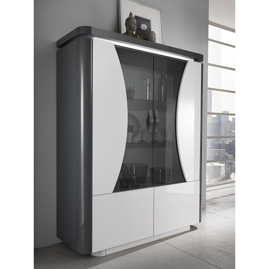 Clarus Display Cabinet In White And Grey Gloss Lacquer With LED