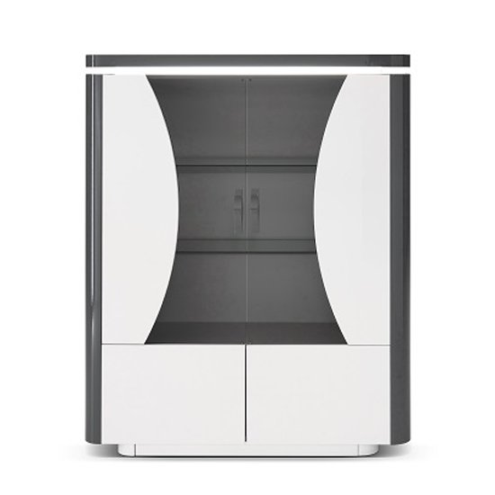 Clarus Display Cabinet In White And Grey Gloss Lacquer With LED_2