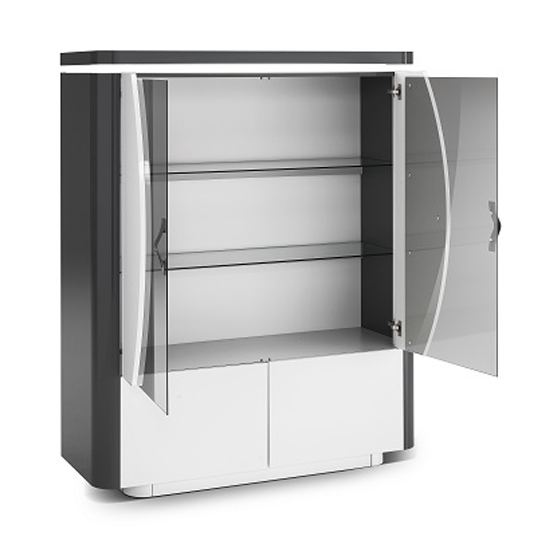 Clarus Display Cabinet In White And Grey Gloss Lacquer With LED_3