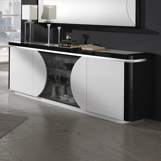 Clarus Sideboard In White And Black Gloss Lacquer With LED