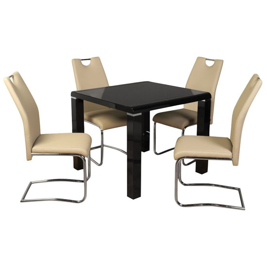 Cannock Gloss Dining Set In Black Gloss With 4 Khaki Chairs